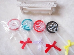 Lollipop condoms plastic package